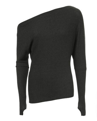 Off Shoulder Thumbhole Sweater, CHARCOAL, hi-res