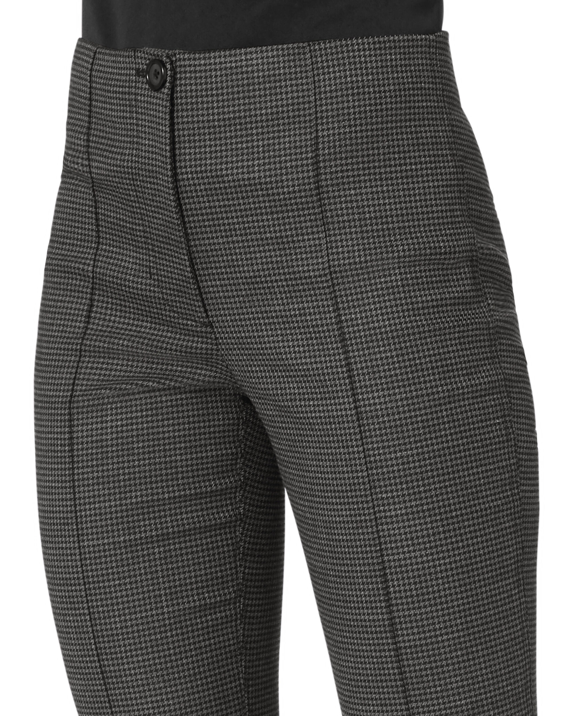 Grey Houndstooth Cropped Flare Pants, GREY, hi-res