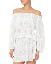 Embroidered Coverup Dress, WHITE, hi-res