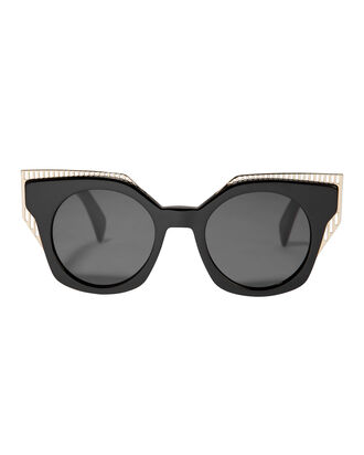Gold-Tone Tipped Black Sunglasses, BLACK, hi-res