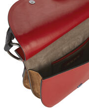 Small Flap Red Leather Crossbody Bag, RED, hi-res