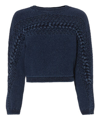 Kennedy Chambray Cropped Sweater, BLUE-MED, hi-res