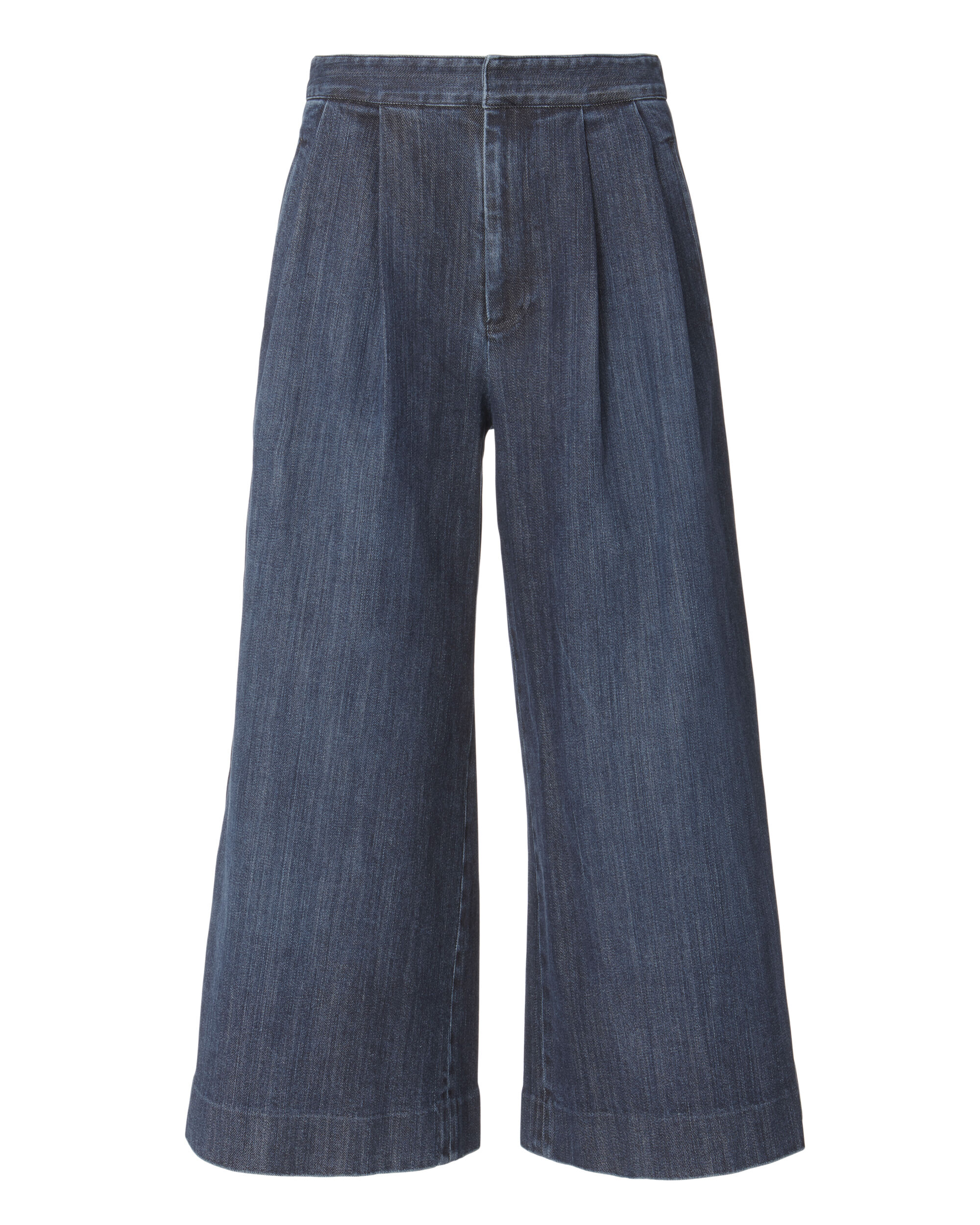 Cropped Pleated Front Jeans, BLUE-DRK, hi-res