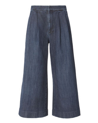 Cropped Pleated Front Jeans, BLUE, hi-res