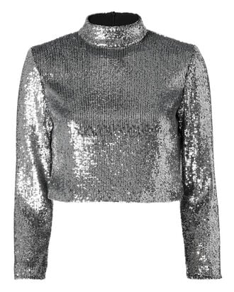 Keegan Sequin Crop Top, METALLIC, hi-res