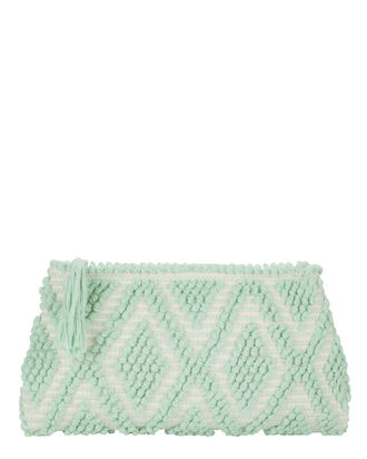 Piatta Rombi Mint Green Clutch, GREEN, hi-res