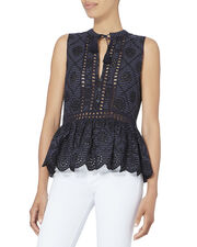 Eyelet Pinstriped Embroidered Top, NAVY, hi-res