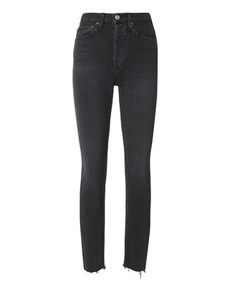 High-Rise Ankle Crop Black Jeans, BLACK, hi-res