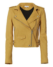 Ashville Yellow Cropped Leather Jacket, YELLOW, hi-res