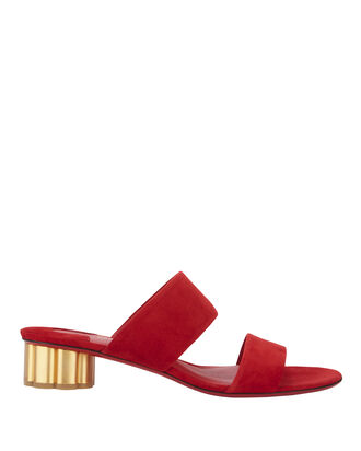 Flower Heel Slides, RED, hi-res