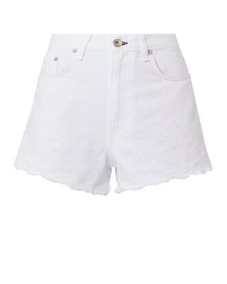Justine Eyelet White Denim Shorts, WHITE, hi-res