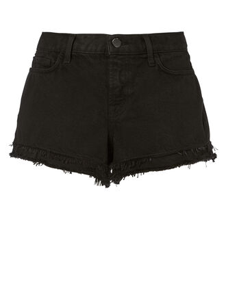 Sachi Frayed Black Shorts, BLACK, hi-res