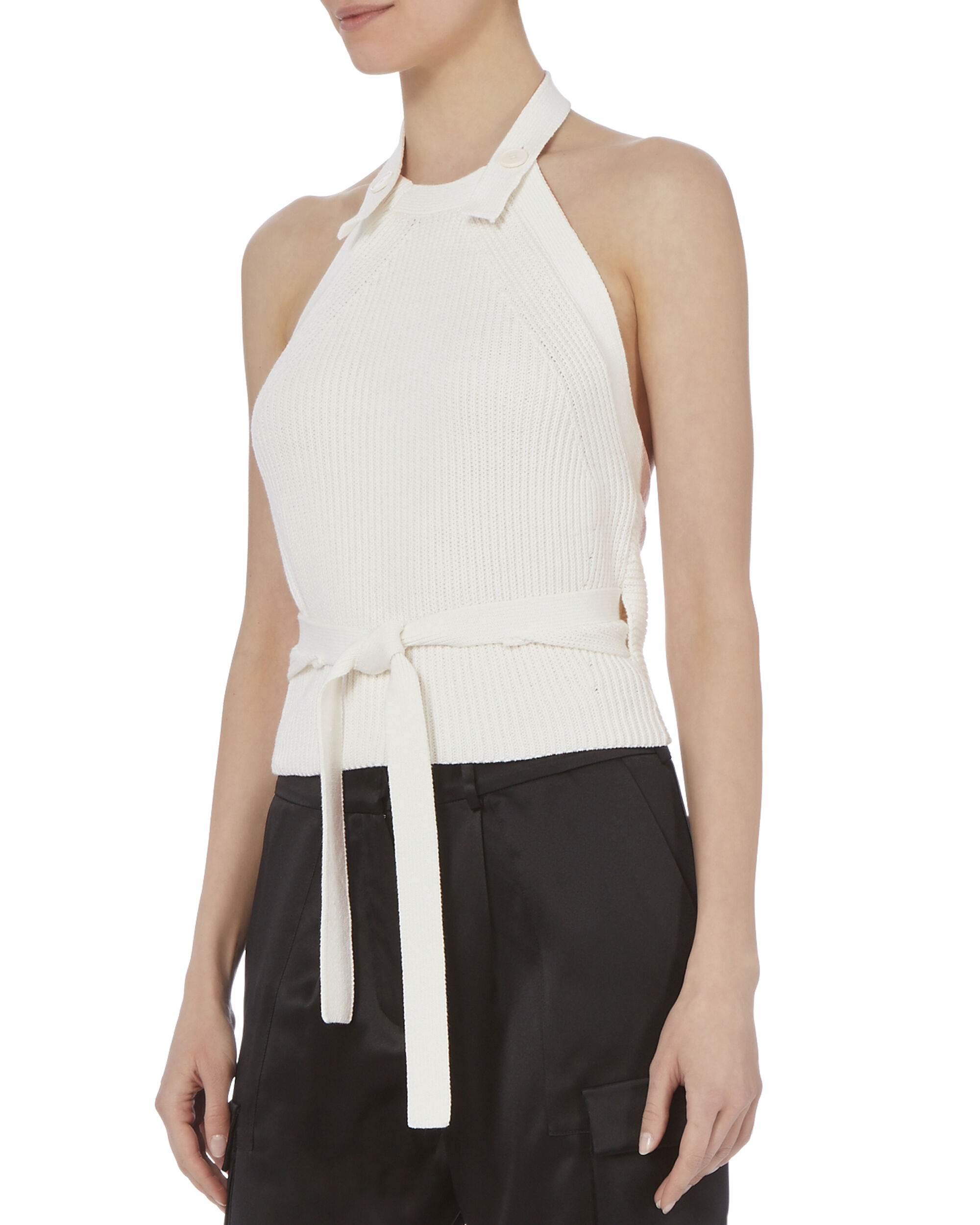 Ribbed Knit Button-Back Halter Top, WHITE, hi-res