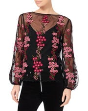 Floral Embroidery Top, BLACK, hi-res