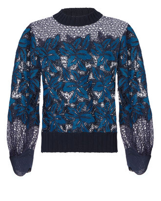Mosaic Lace Sweatshirt, BLUE, hi-res