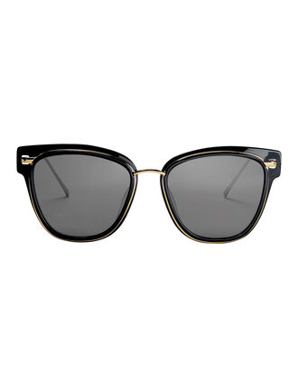 Metal Rimmed Black Sunglasses, BLACK, hi-res
