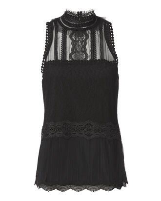 Tulle Lace Racer Tank, BLACK, hi-res