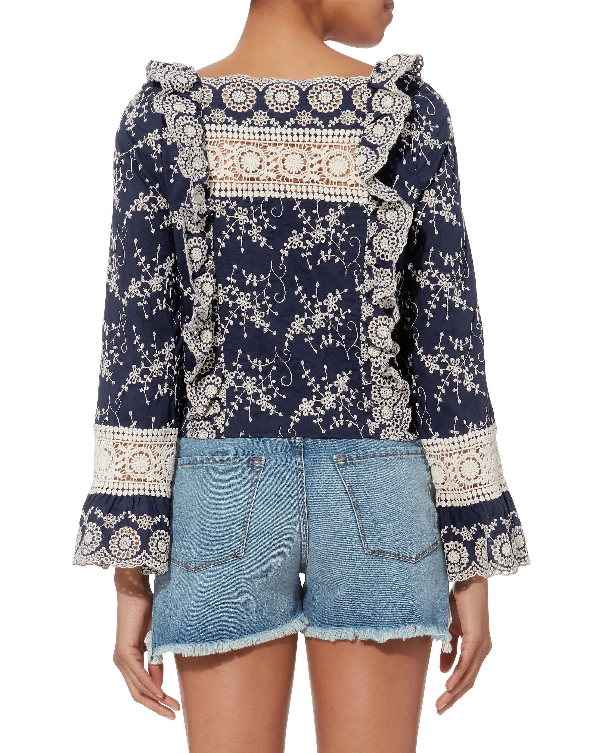Clementine Embroidered Blouse, NAVY, hi-res