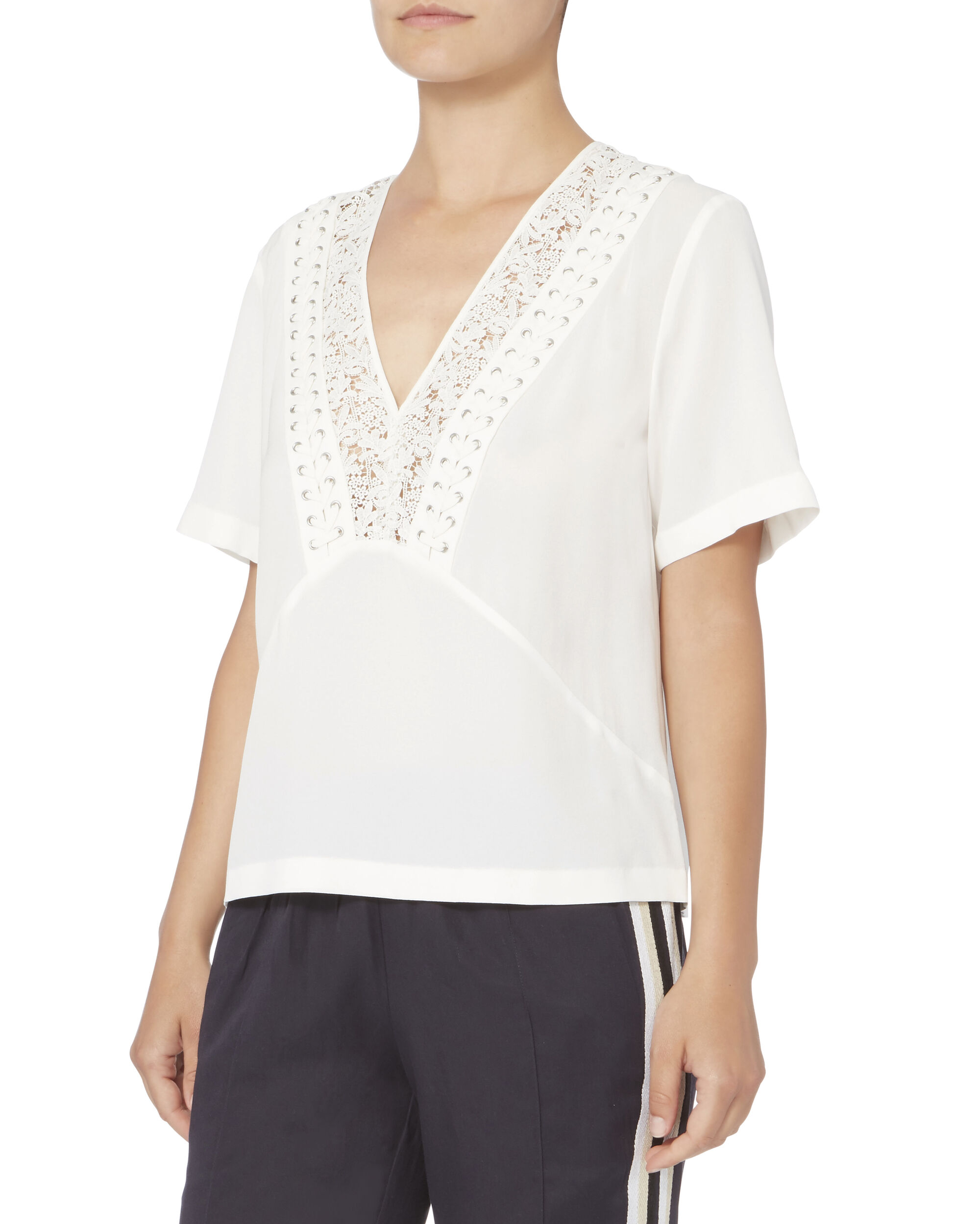 Annora Lace-Up Silk Top, WHITE, hi-res