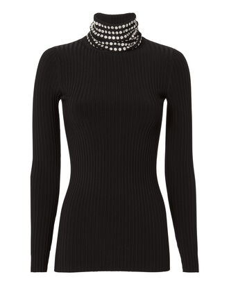 Crystal Trimmed Turtleneck Sweater, BLACK, hi-res