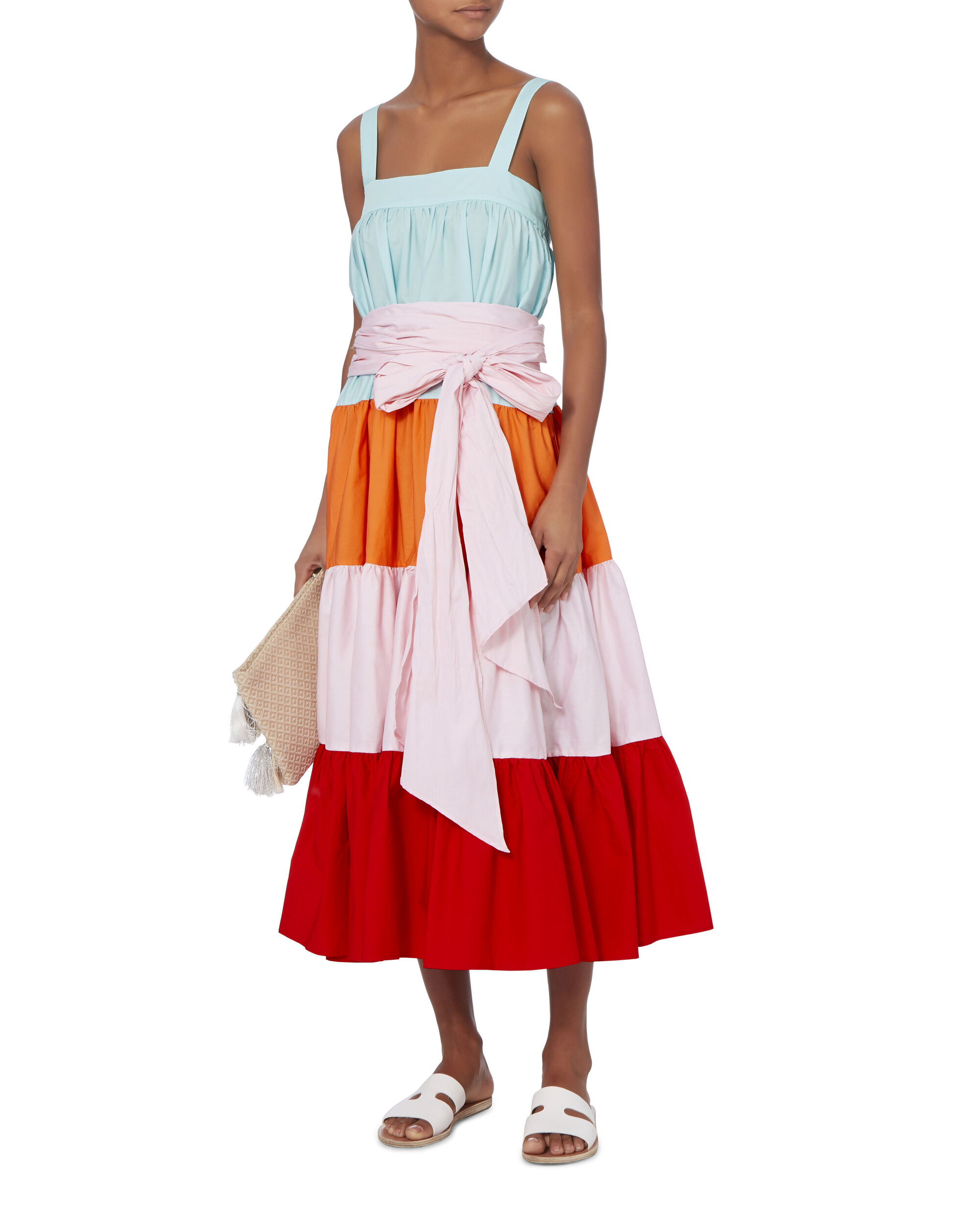 Colorblocked Tiered Dress, COLORBLOCK, hi-res