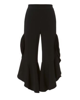 Cropped Ruffle Black Pants, BLACK, hi-res