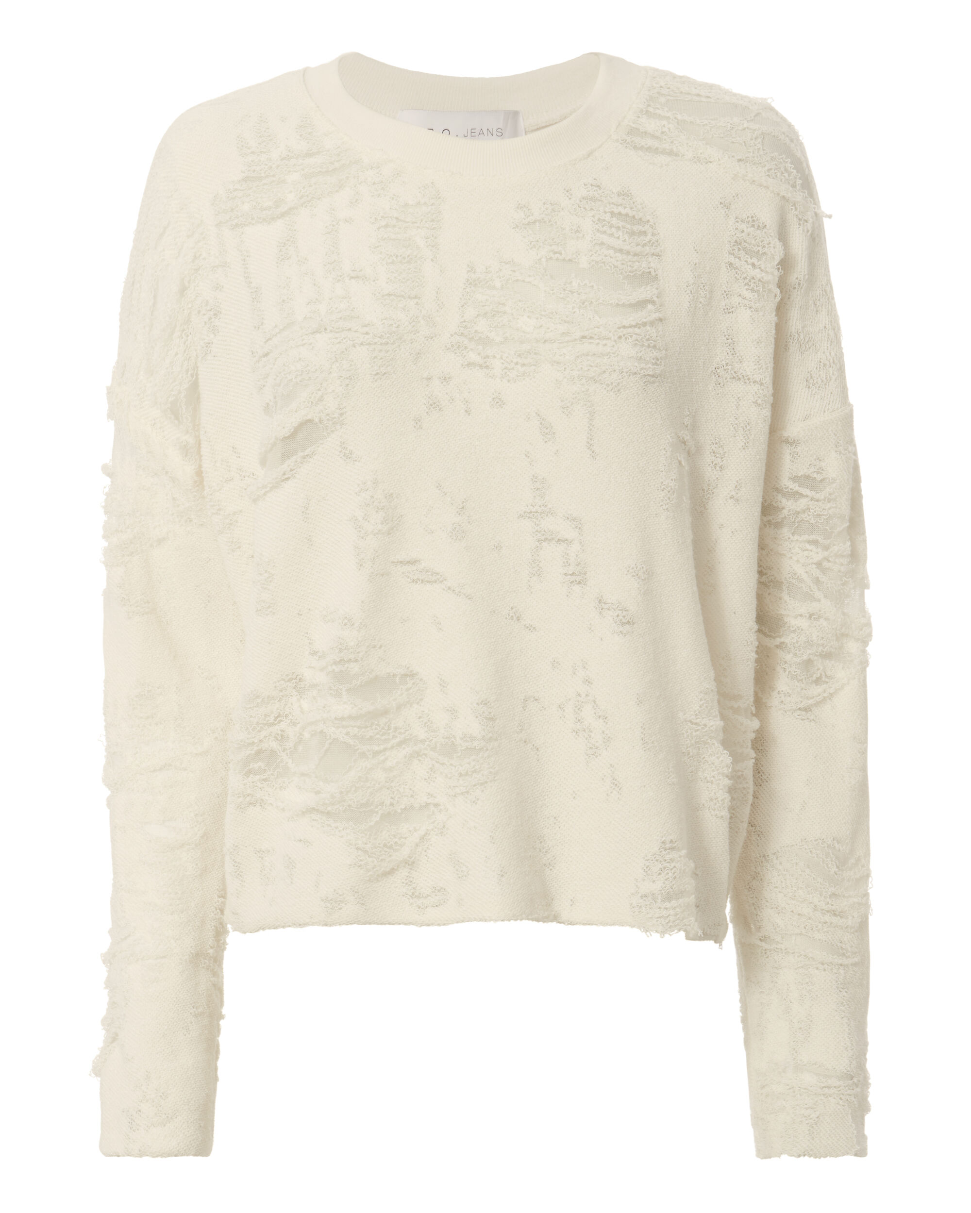 Cenix Burnout Cropped Sweatshirt, WHITE, hi-res