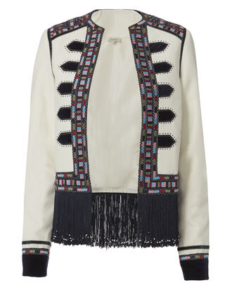 Zoya Embroidered Fringe Military Jacket, IVORY, hi-res