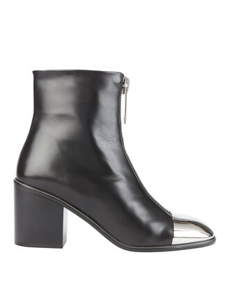 Metal Cap Toe Booties, BLACK, hi-res