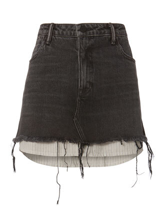 Layered Denim Mini Skirt, GREY, hi-res