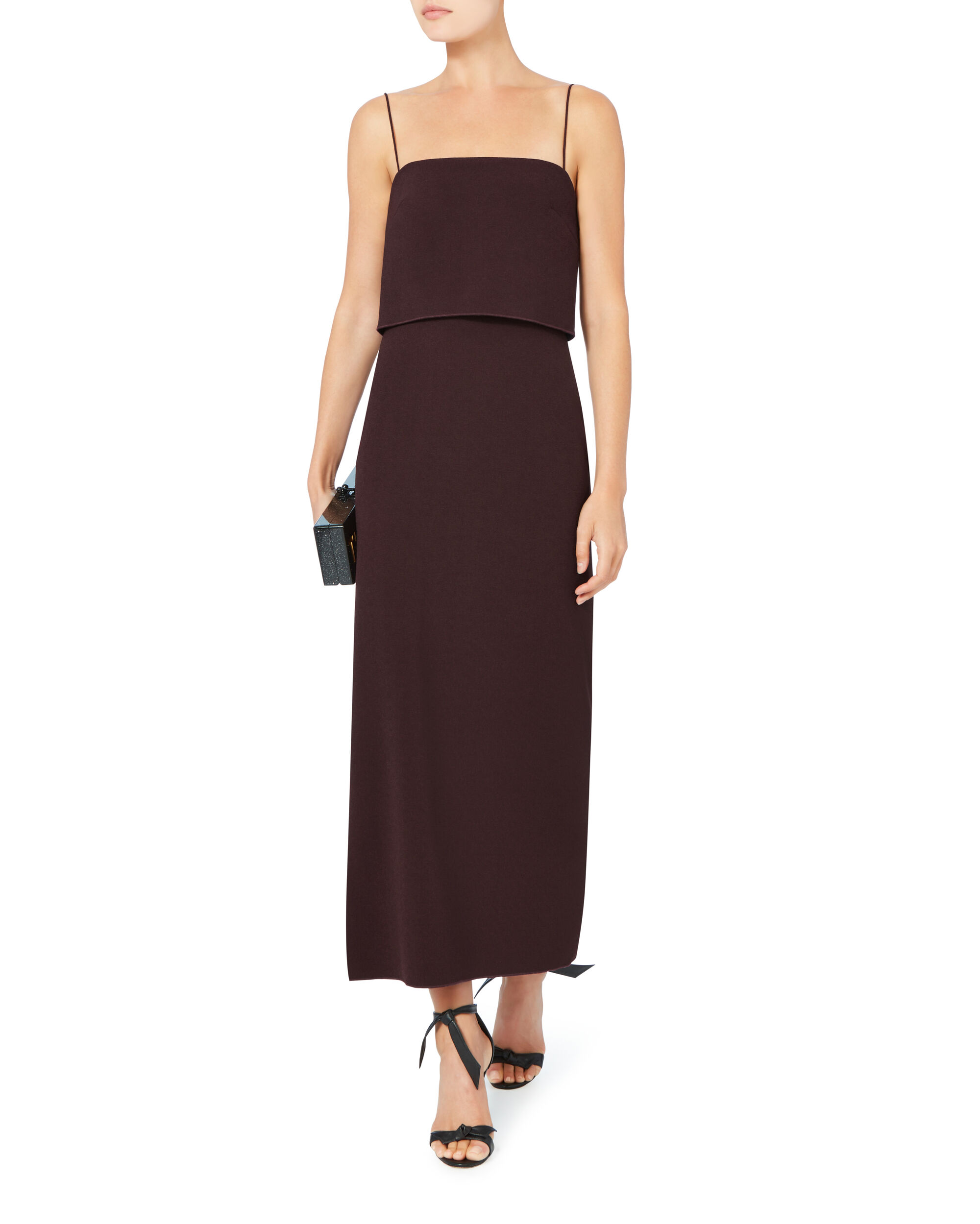 Crepe Column Midi Dress, RED, hi-res