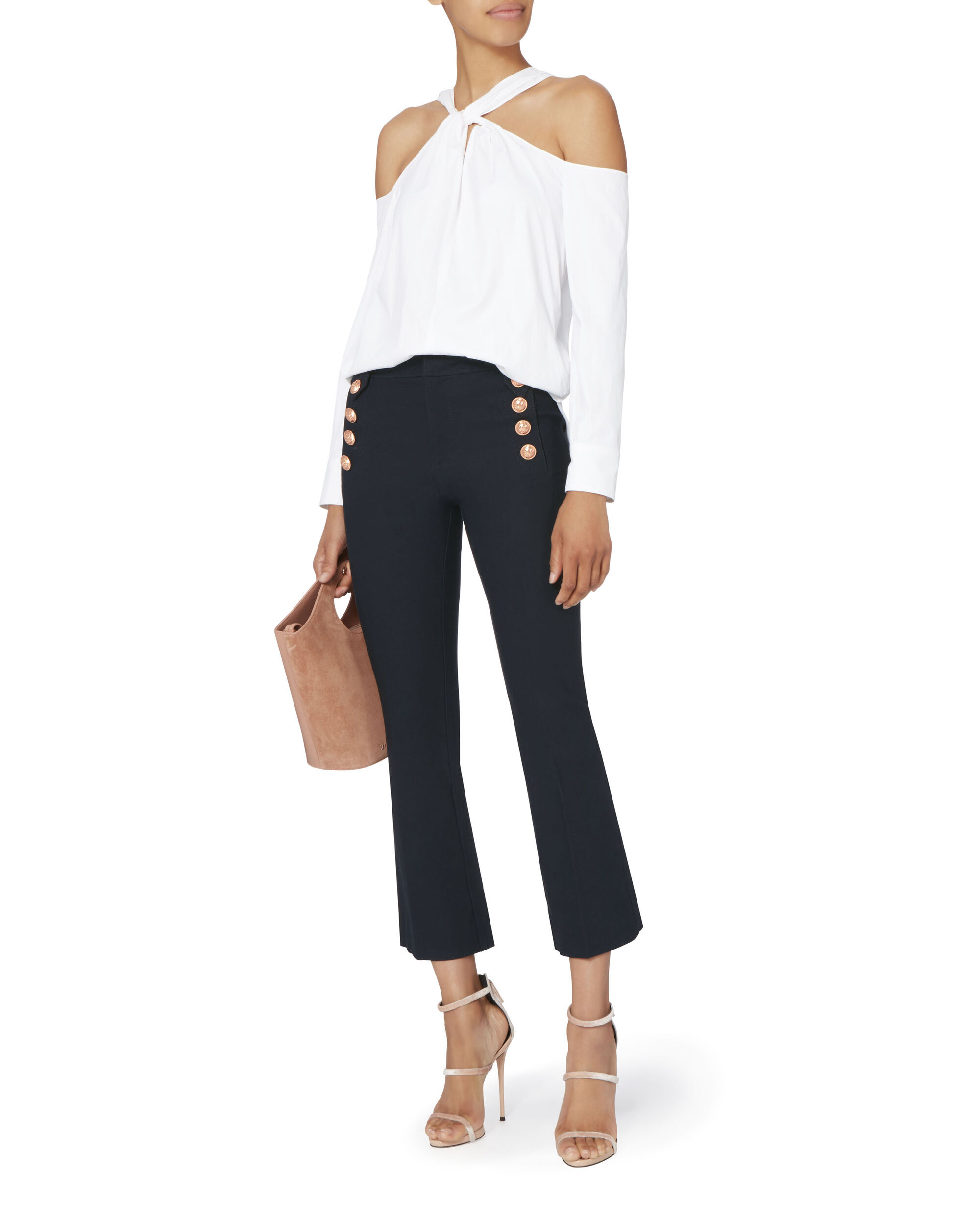 Cropped Flare Sailor Trousers, NAVY, hi-res