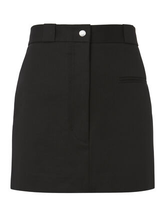 Cotton Stretch Mini Skirt, BLACK, hi-res