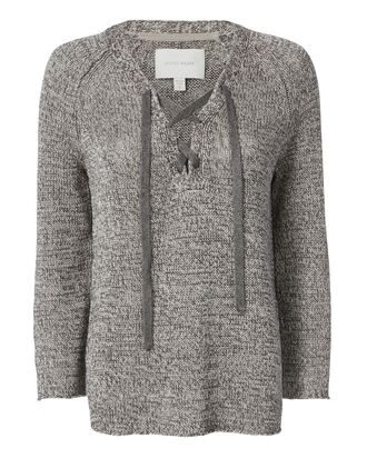 Tulla Lace-Up Tunic Sweater, GREY, hi-res