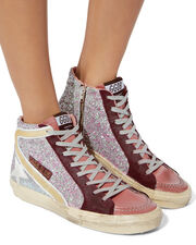 Cyclamin Glitter Pink High-Top Sneakers, PINK, hi-res