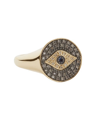 Evil Eye Diamond Medallion Ring, GOLD, hi-res