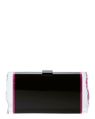 Lara Hot Pink Ice Sides Clutch, BLACK, hi-res