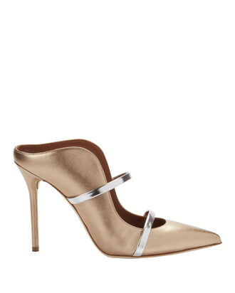 Maureen Double Strap Gold Mules, METALLIC, hi-res