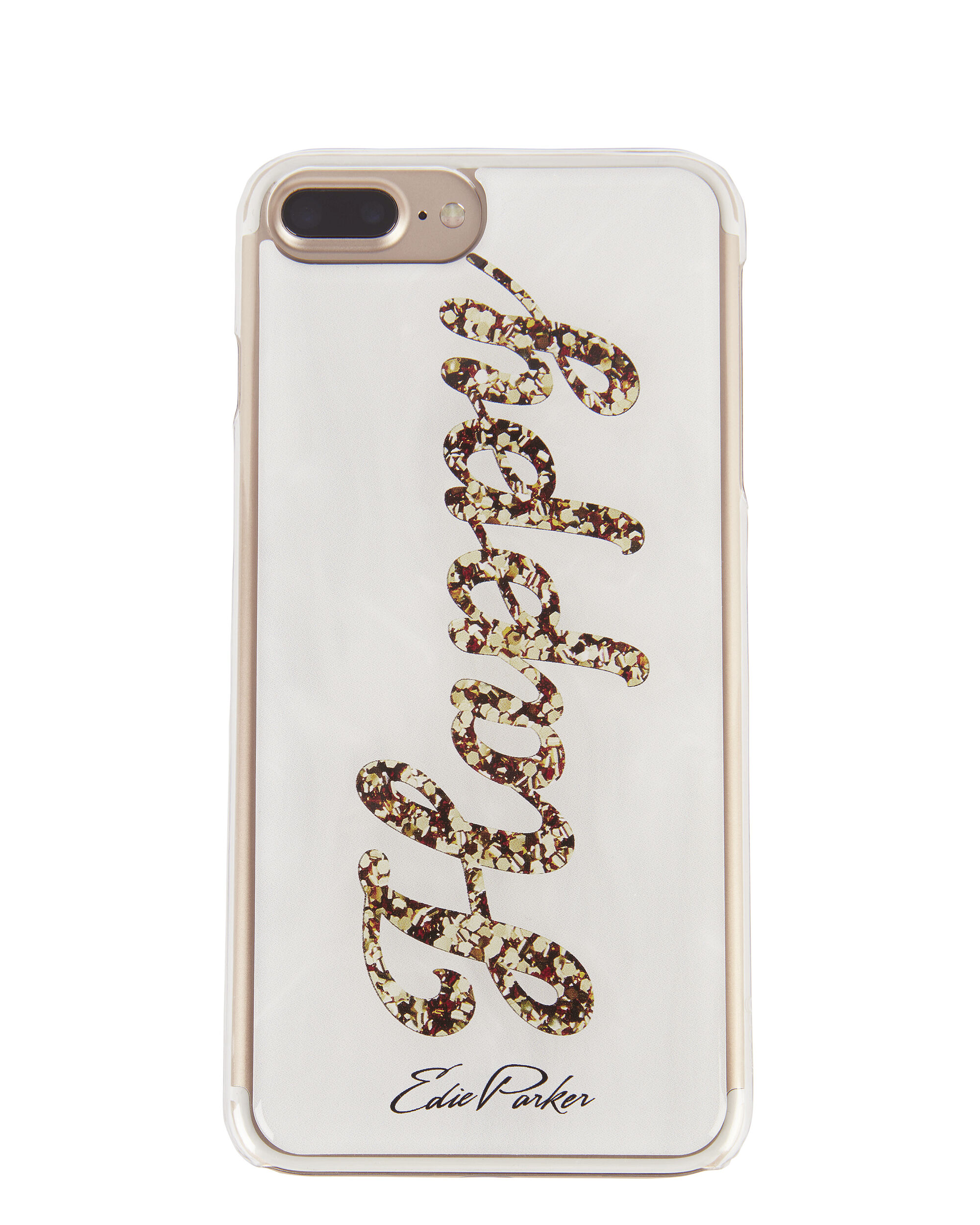 """Gold """"Happy"""" iPhone 6 or 7 Case, WHITE, hi-res"""