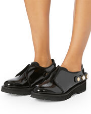 Faux Pearl Strap Patent Leather Loafer, BLACK, hi-res