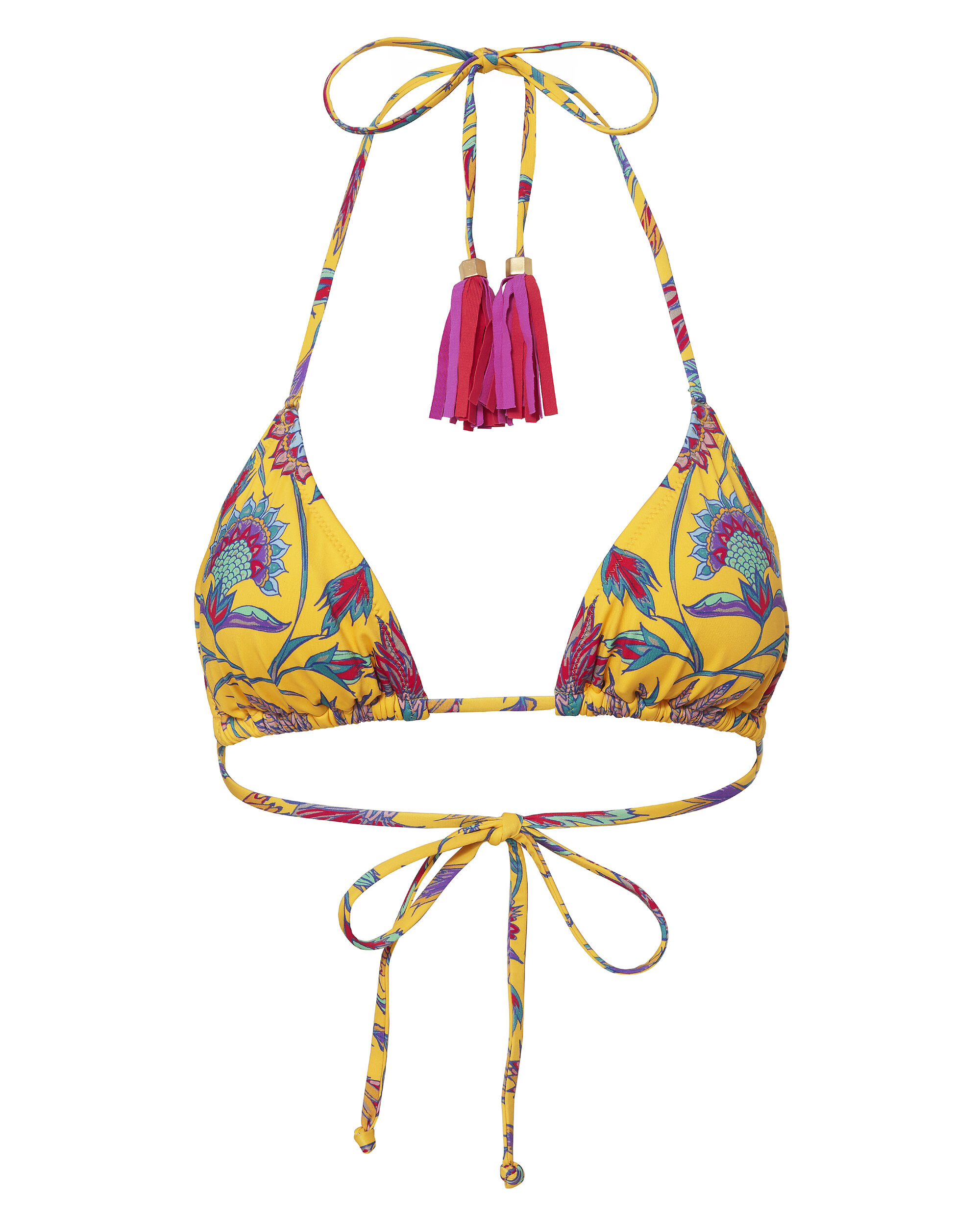 Tassled Triangle Printed Bikini Top, PRINT, hi-res