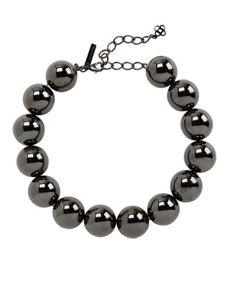 Gunmetal Beaded Necklace, GUNMETAL, hi-res