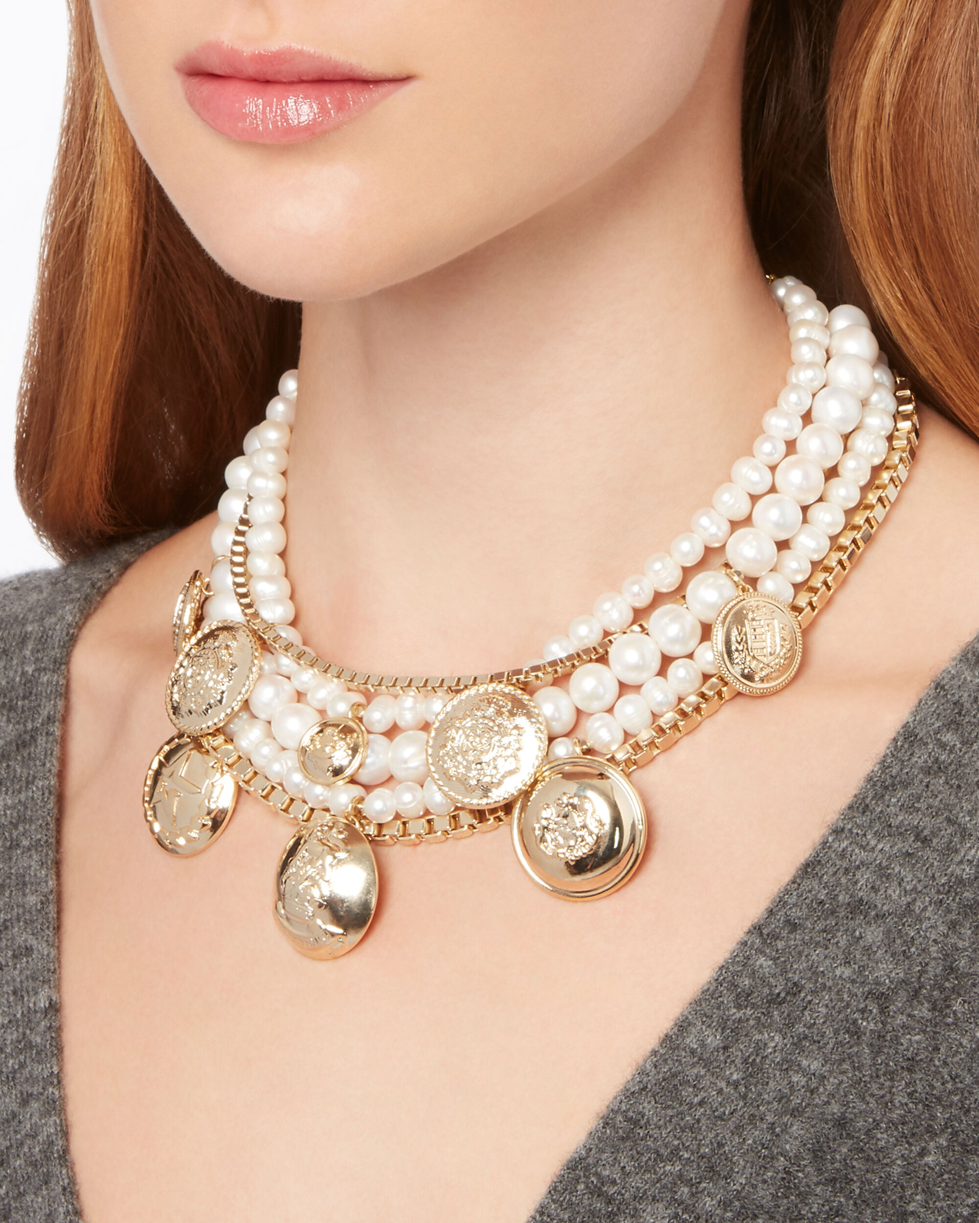 Mixed Pearl And Coin Statement Necklace, METALLIC, hi-res
