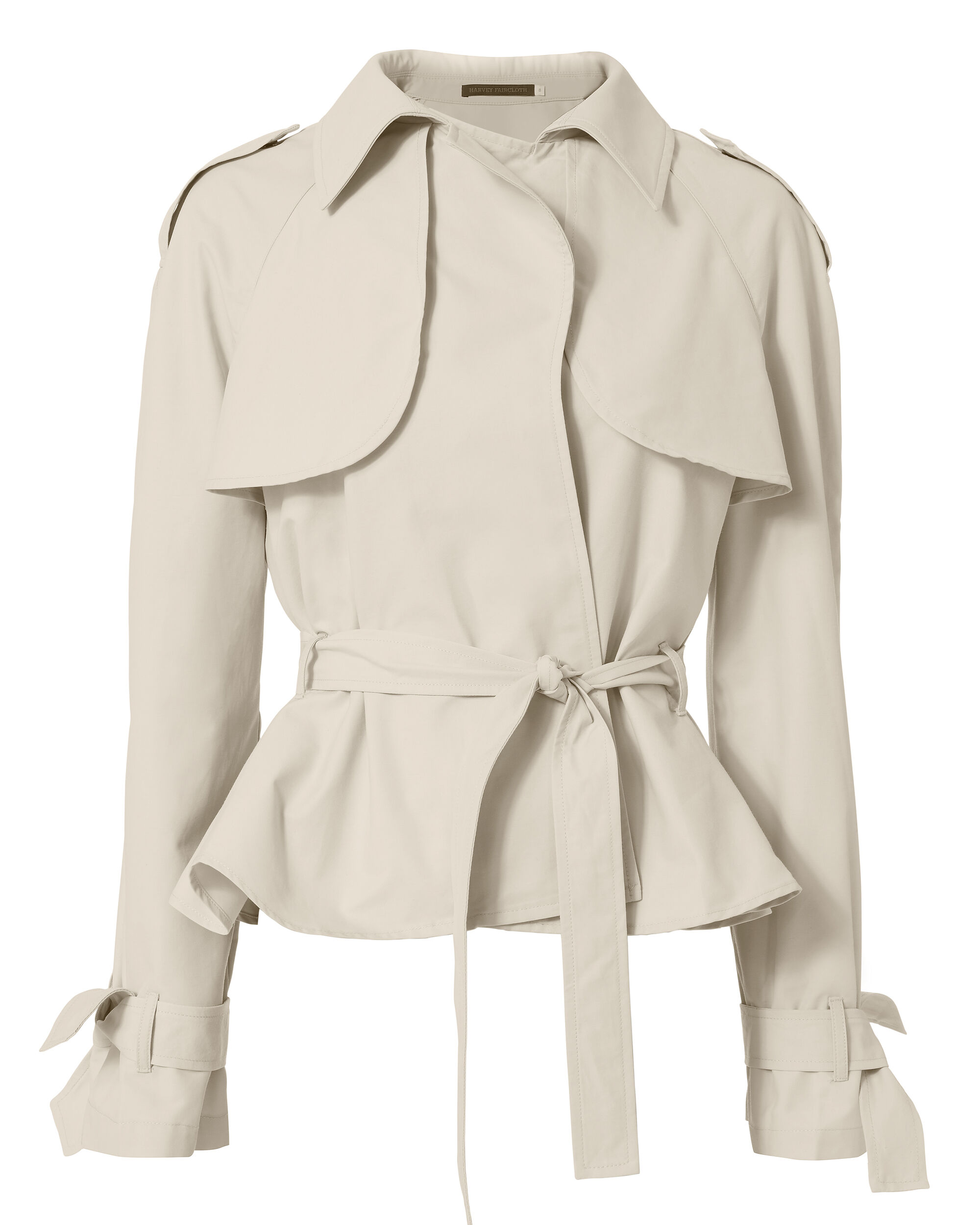 Belted Cropped Trench Jacket, BEIGE, hi-res