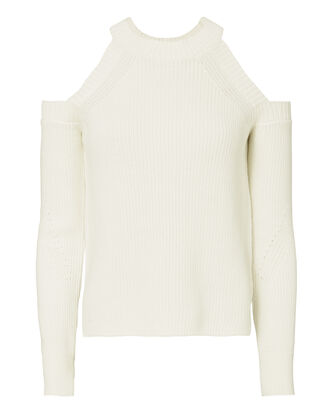 Dana Cold Shoulder White Sweater, WHITE, hi-res