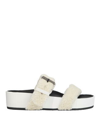 Evin Shearling Platform Sandals, WHITE, hi-res