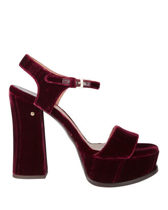 Perla Platform Velvet Sandals, RED, hi-res
