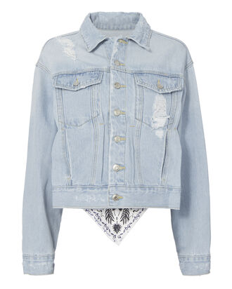 Scarf Back Distressed Denim Jacket, BLUE, hi-res