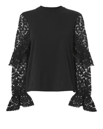 Black Lace Long Sleeve Sweatshirt, BLACK, hi-res