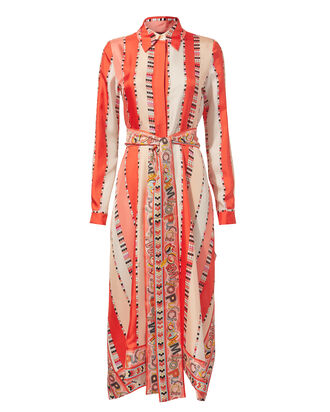 Collared Midi Dress, CORAL, hi-res